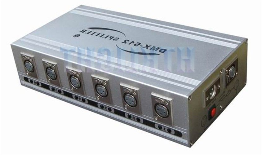 6 Way DMX Signal Splitter And Amplifier CE RoHS Certification For Lighting Show